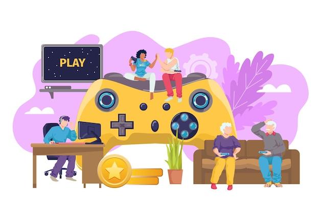 Computerspiel-joystick für alle Premium Vektoren