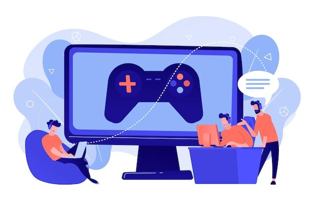 Computerspielindustrie, cybersporttraining. esport-coaching, unterricht bei profispielern, esport-coaching-plattform, spielen wie ein profikonzept. isolierte illustration des rosa korallenblauvektors Kostenlosen Vektoren
