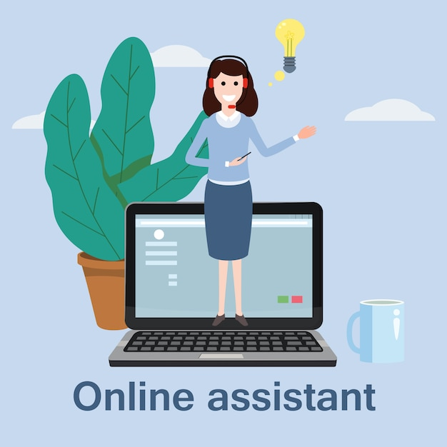 Concept online-assistent, Premium Vektoren