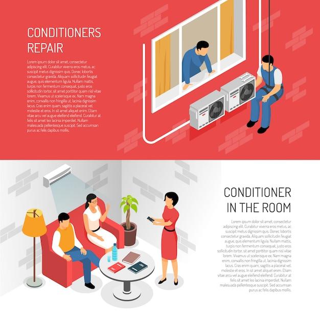 Conditioner-horizontale fahnen eingestellt Kostenlosen Vektoren
