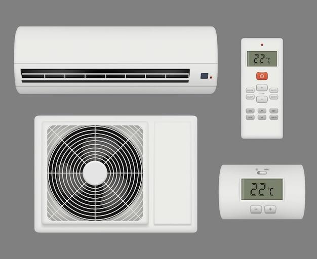 Conditioner realistisch. lüftungsreiniger komfortabler innenraum. klimaanlage ausrüstung, hauskühler klimaanlage abbildung Premium Vektoren
