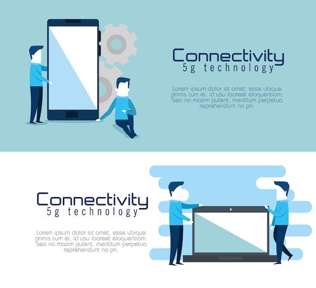 Connectivity 5g technologie banner Kostenlosen Vektoren