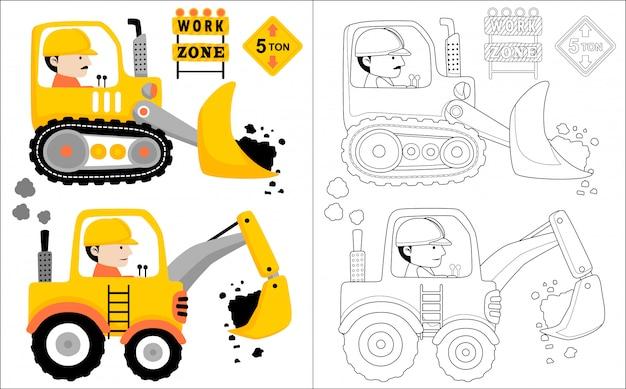 Constrcution fahrzeugkarikatur mit fahrer Premium Vektoren