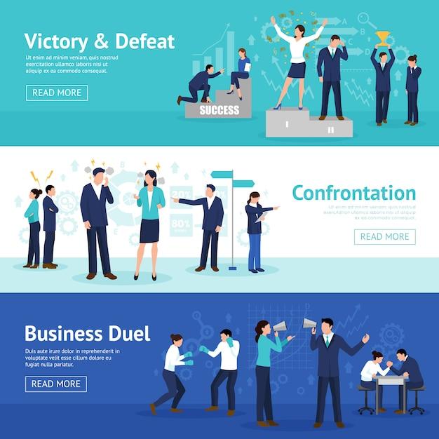 Constructive business confrontation flat banner set Kostenlosen Vektoren