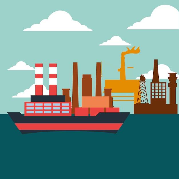 Container- und tankschiffs-ölindustrie Premium Vektoren