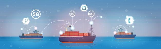 Containerfrachtschiffe seeverkehr 5g online-verbindungskonzept für drahtlose systeme Premium Vektoren