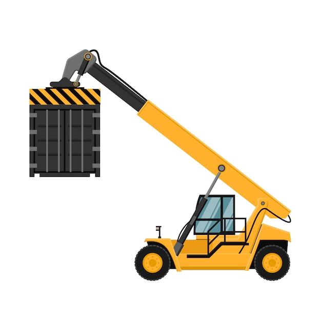 Containerfrachtstapler. Premium Vektoren