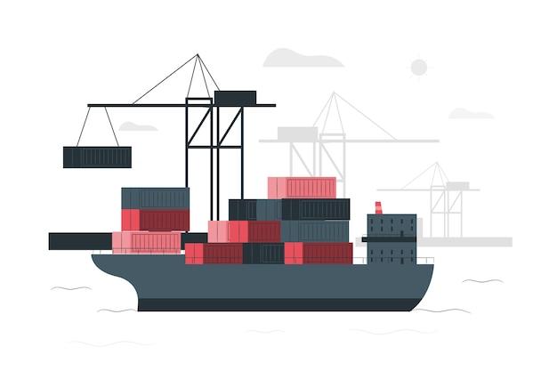 Containerschiff-konzept-illustration Kostenlosen Vektoren