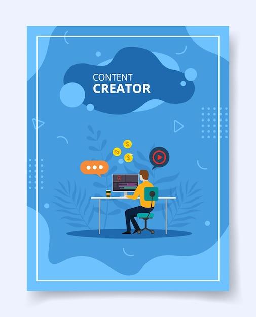 Content creator video-upload bearbeiten Premium Vektoren