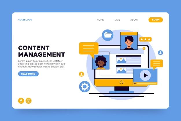Content management landing page Kostenlosen Vektoren