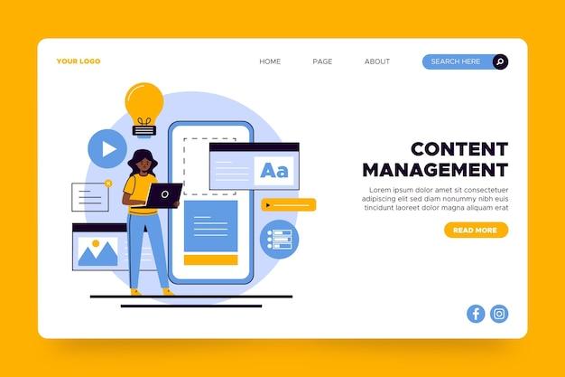 Content management-zielseitenvorlage Kostenlosen Vektoren