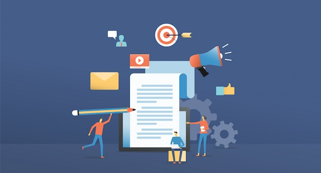 Content marketing online flache abbildung Premium Vektoren