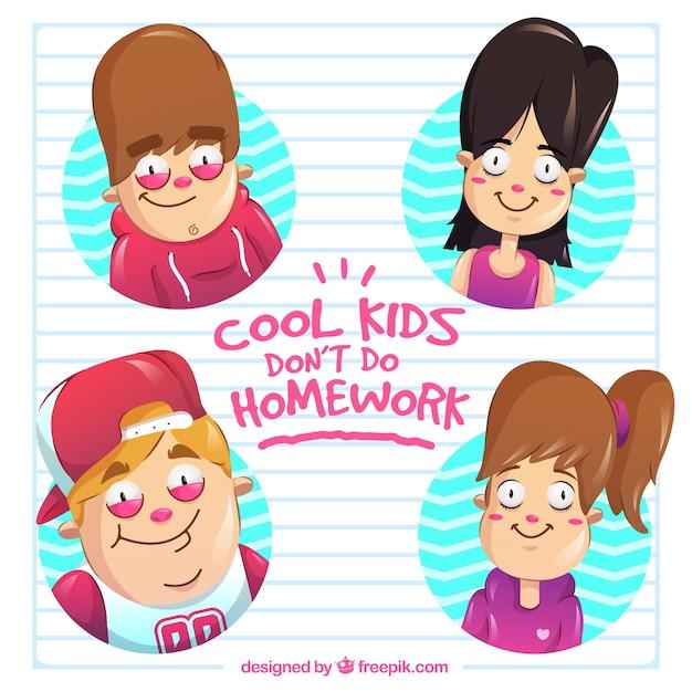 Cool kids keine hausaufgaben machen Kostenlosen Vektoren