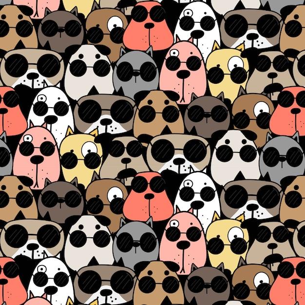 Coole Hunde Muster Hintergrund Download Der Premium Vektor