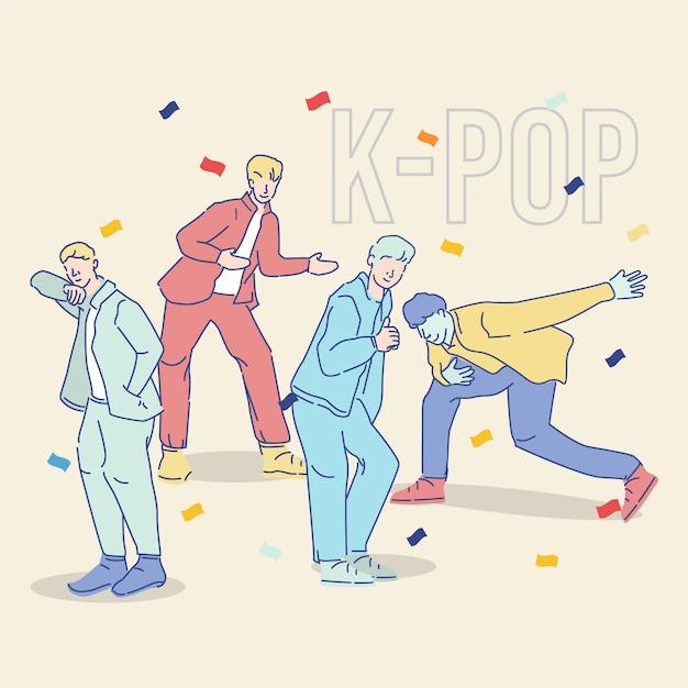 Coole k-pop boy gruppe Kostenlosen Vektoren