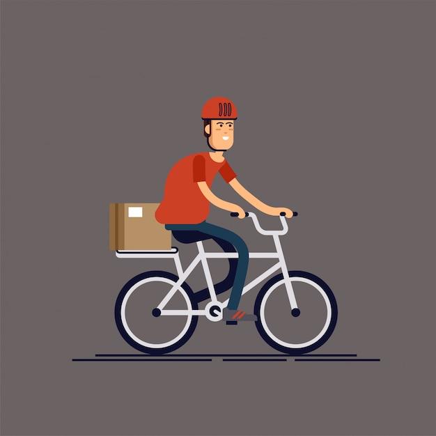 Coole männliche kurierperson charakter reiten fahrrad mit lieferbox. kurier-fahrrad-lieferservice. mehrzweck-postzustellung in der stadt Premium Vektoren