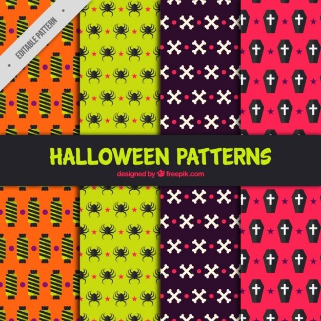 Coole Muster Mit Bunten Halloween Elemente Download Der