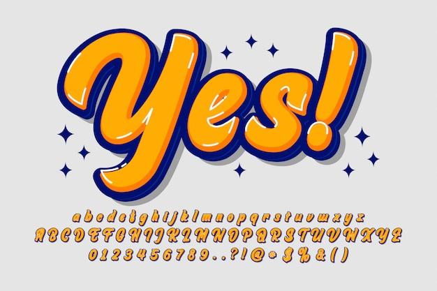 Coole phantasie pinsel alphabet für retro-poster und banner Premium Vektoren