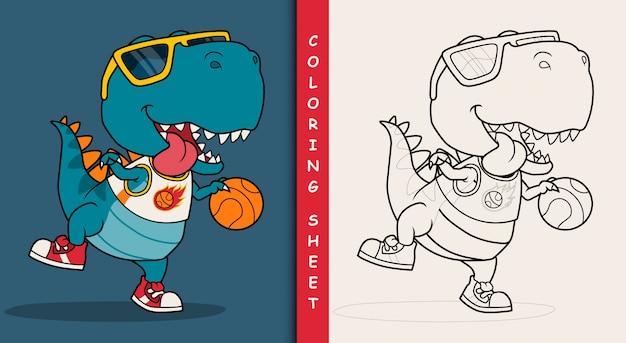 cooler dinosaurier der basketball spielt malvorlage