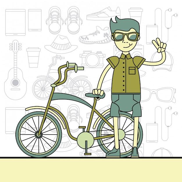Cooler hipster-typ-cartoon Premium Vektoren