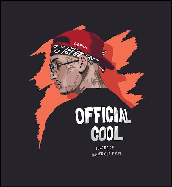Cooler mann mit gesichtstattoo in schwarzer t-shirt illustration Premium Vektoren