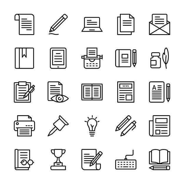 Copywriting line icons pack Premium Vektoren