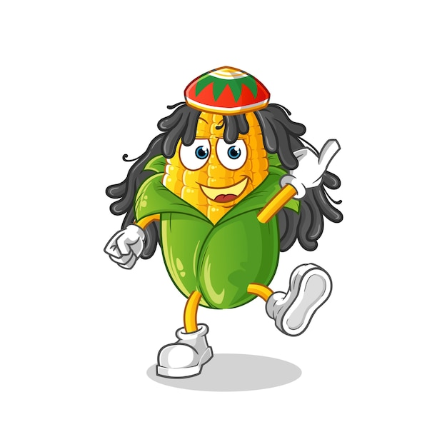 Corn reggae boy cartoon. cartoon maskottchen Premium Vektoren
