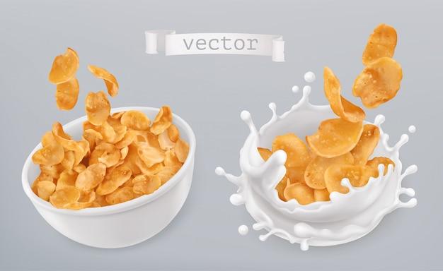 Cornflakes und milchspritzer. 3d realistischer satz Premium Vektoren