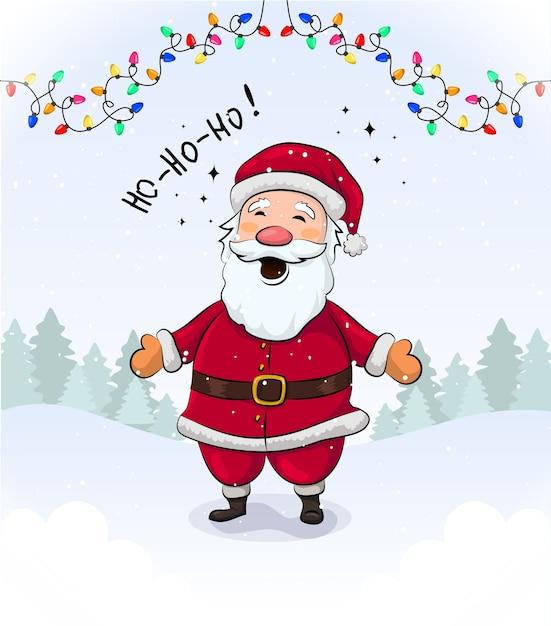 Corolful cristmas grteeting-karte mit niedlichem lächelndem weihnachtsmann Premium Vektoren