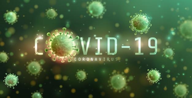 Coronavirus 2019-ncov und virushintergrund mit krankheitszellen. covid-19 corona-virus-ausbruch und pandemie-konzept für das medizinische gesundheitsrisiko Premium Vektoren