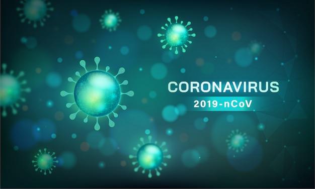 Coronavirus-banner. viruszelle in mikroskopischer ansicht Kostenlosen Vektoren