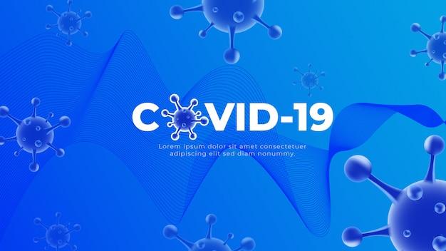 Coronavirus covid-19 blauer hintergrund Premium Vektoren