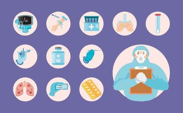 Coronavirus covid 19 medizinisches personal medizin verschreibungspflichtigen behandlungstest für krankheitssymbole illustration Premium Vektoren
