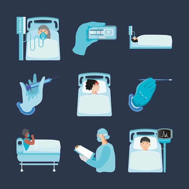 Coronavirus covid 19 patienten test probe personal medizinische symbole set illustration Premium Vektoren