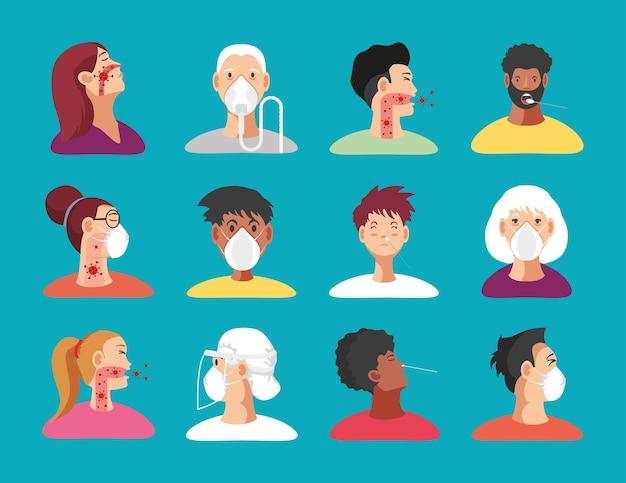 Coronavirus covid 19 symbole setzen geduldige personen mit medizinischer maske, atemschutzmaskenillustration Premium Vektoren