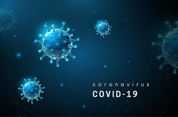 Coronavirus. covid-19-virus. low poly style design. Premium Vektoren