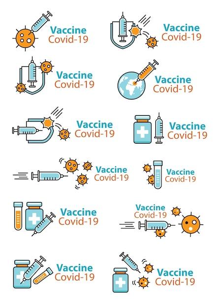 Coronavirus impfstoff zeichen und symbol für aufkleber, banner, poster, website. Premium Vektoren
