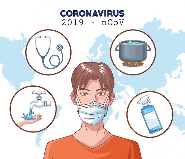 Coronavirus infografik mit mann mit maske Premium Vektoren