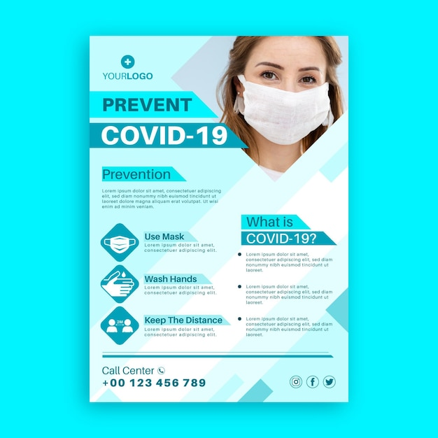 Coronavirus informative flyer-vorlage Premium Vektoren