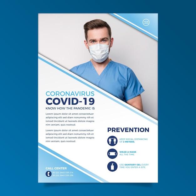 Coronavirus informatives plakat mit foto Premium Vektoren