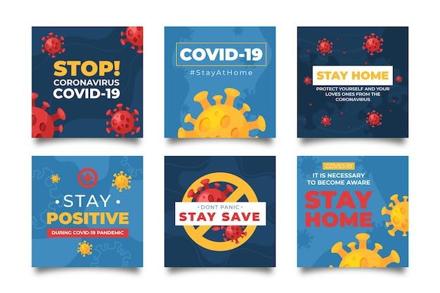 Coronavirus instagram beiträge vorlage Kostenlosen Vektoren