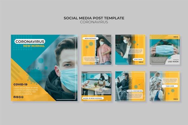 Coronavirus instagram post sammlung Kostenlosen Vektoren