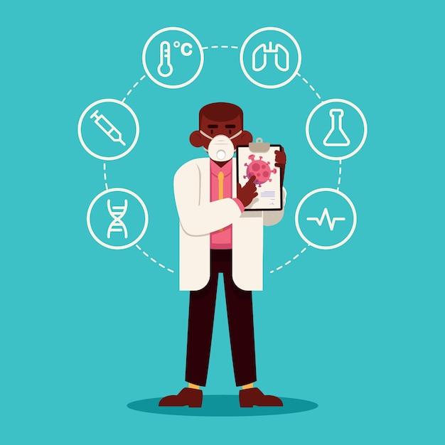 Coronavirus-konzept 2019-ncov und wissenschaftler Kostenlosen Vektoren