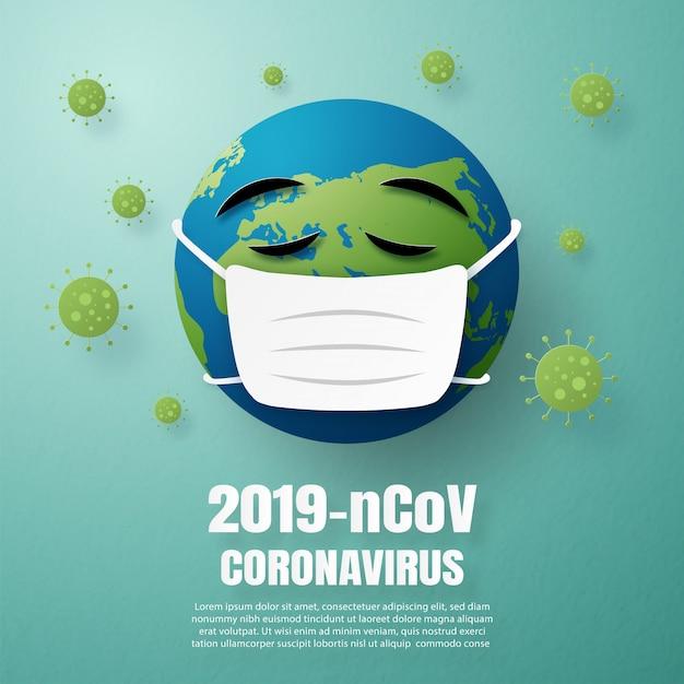 Coronavirus konzept der welt tragen gesichtsmaske zum schutz von krankheiten Premium Vektoren