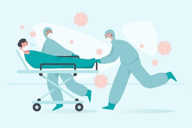 Coronavirus kritischer patient Kostenlosen Vektoren