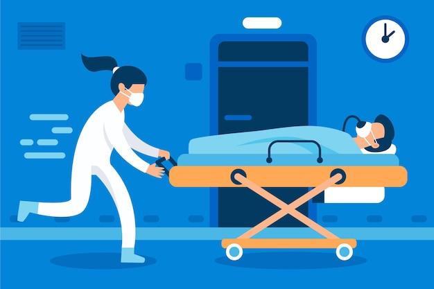 Coronavirus kritisches patientenkonzept Kostenlosen Vektoren