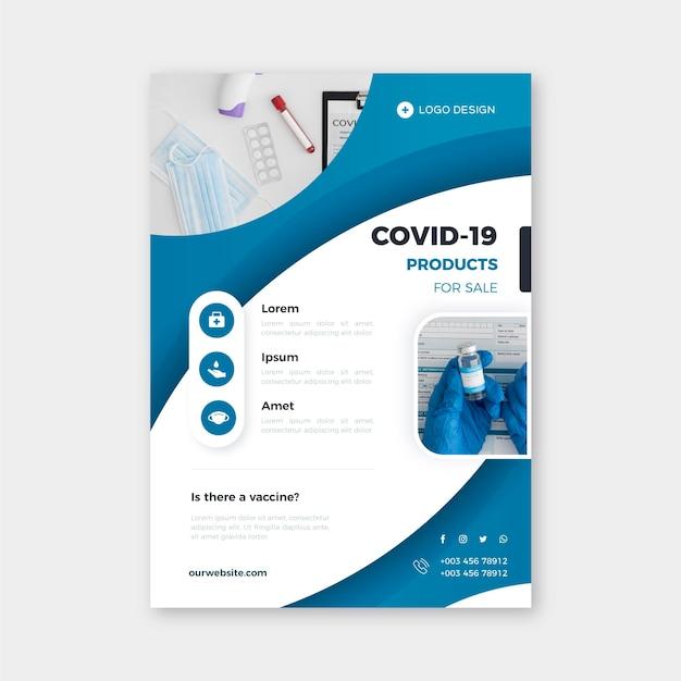 Coronavirus medizinprodukte flyer vorlage mit foto Kostenlosen Vektoren