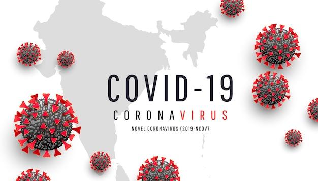 Coronavirus oder covid-19. rote coronavirus-zelle auf kartenhintergrund der welt indien. epidemie, pandemie, medizin, virusimpfstoff. virus globale verbreitung und infektion Premium Vektoren