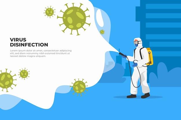 Coronavirus-pandemiebakterien und mann im hazmat-anzug Premium Vektoren