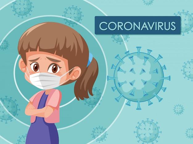 Coronavirus-plakatentwurf mit dem tragen der maske des mädchens Premium Vektoren